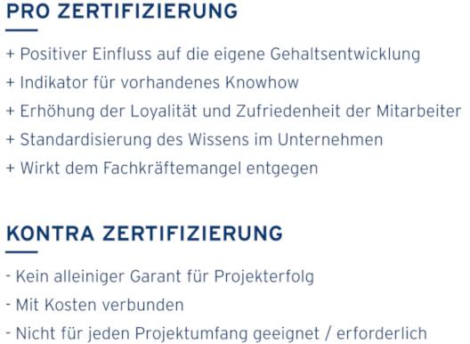 Zertifizierung Projektmanagement