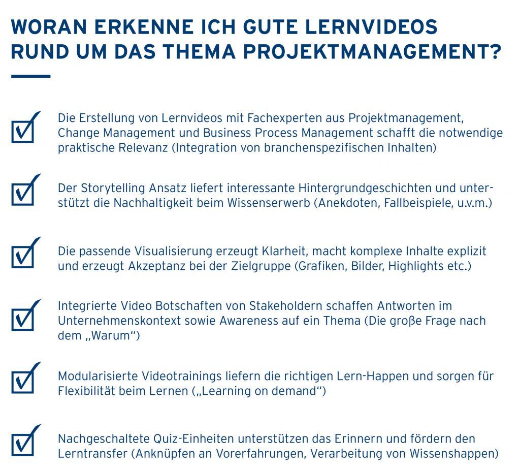 Checkliste Lernvideos Projektmanagement